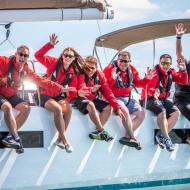 sailors waving aboard the sunsail 41.0